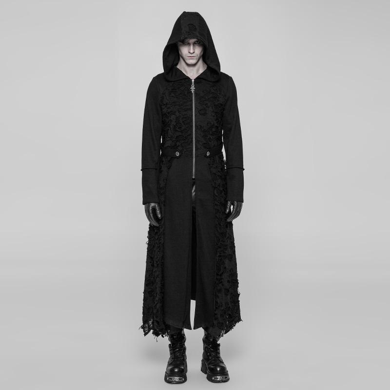 Men's Punk Lace Long Coat - PunkDesign