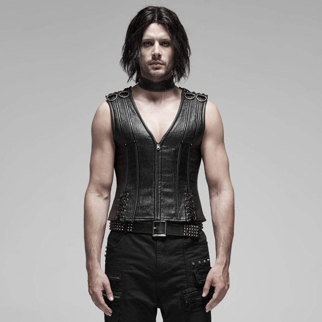 PUNK RAVE Men's Punk Lace-up Faux Leather Shapewear Vests