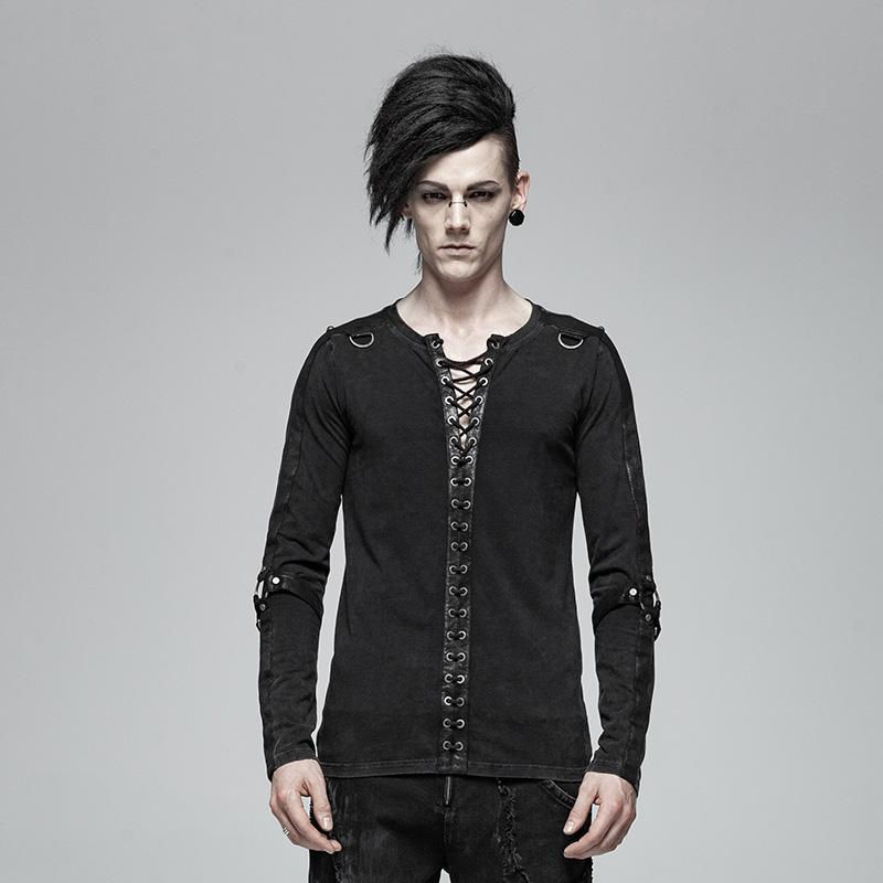 Men's Punk Lace-Up Long Sleeved T-Shirts - PunkDesign