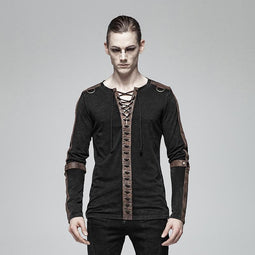 Men's Punk Lace-Up Long Sleeved T-Shirts Coffee - PunkDesign