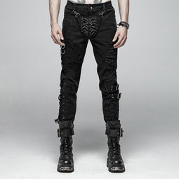Herren Punk Lace-Up Ripped Jeans - PunkDesign