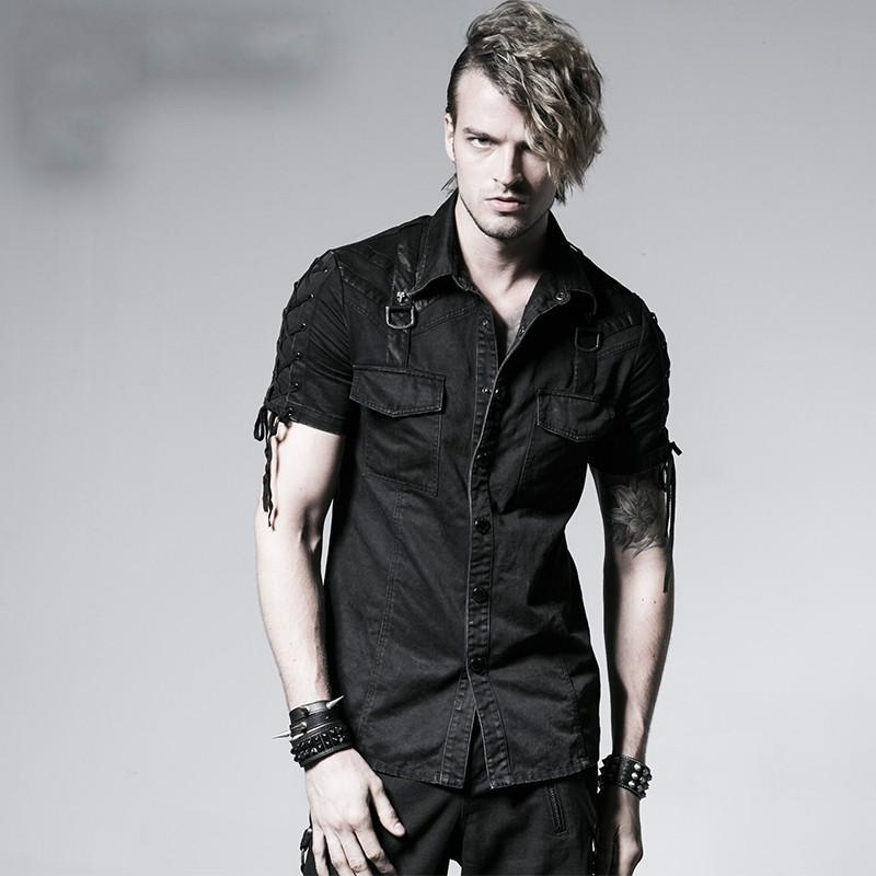Men's Punk Lace-up Short Sleeved Double Pockets Denim Shirts - PunkDesign