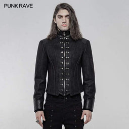 Punk Rave Men's Punk Metal Nail Short Coats