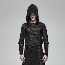 693346b14a Men s Punk Ripped Long Sleeved T-shirts With Hood - PunkDesign
