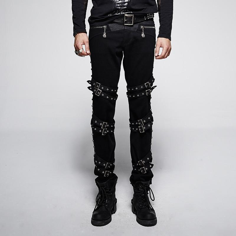 Men's Punk Rivets Straps Straight-Leg Pants Black - PunkDesign