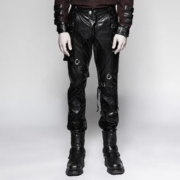 Men's  Punk Rock Faux Leather Straight-leg Pants With Two Pockets - PunkDesign