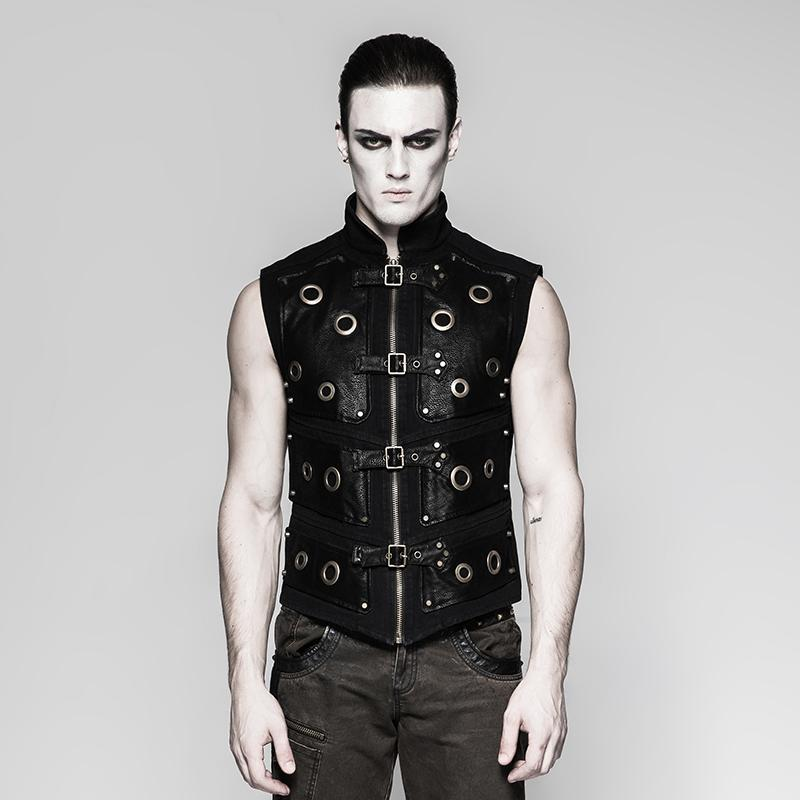 Herren Punk Rock Zipper Vest - PunkDesign