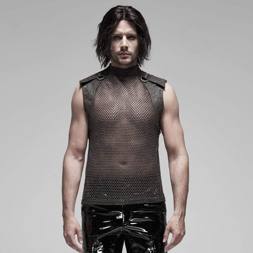 PUNK RAVE Men's Punk See-through Mesh Vests