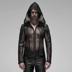 PUNK RAVE Men's Punk Sheer Mesh Hooded Coats