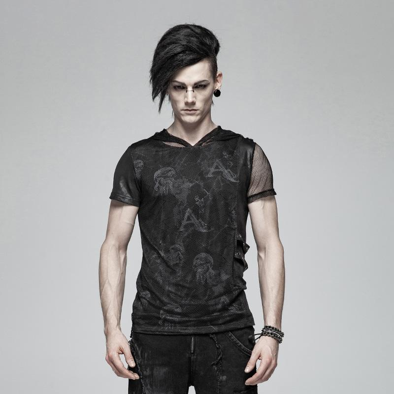 Men's Punk Skull Mesh Hooded T-shirts - PunkDesign