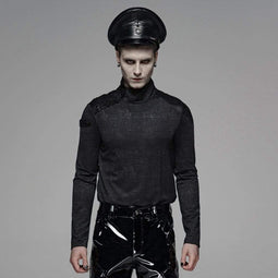 PUNK RAVE Men's Punk Turtleneck Long Sleeved Shirt