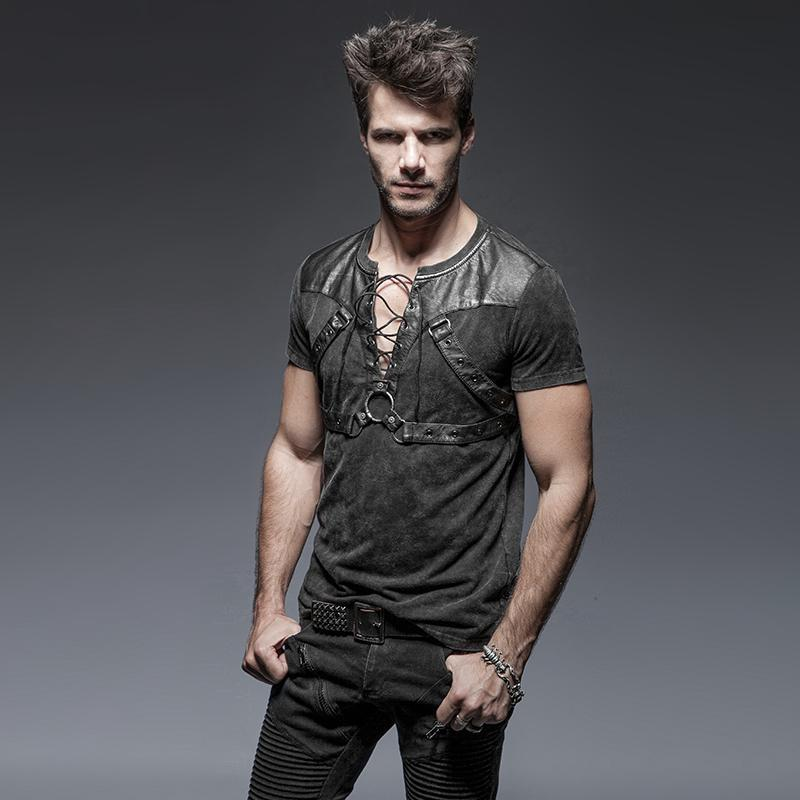 Men's Punk Zipper Lace Up T Shirt With Straps - PunkDesign