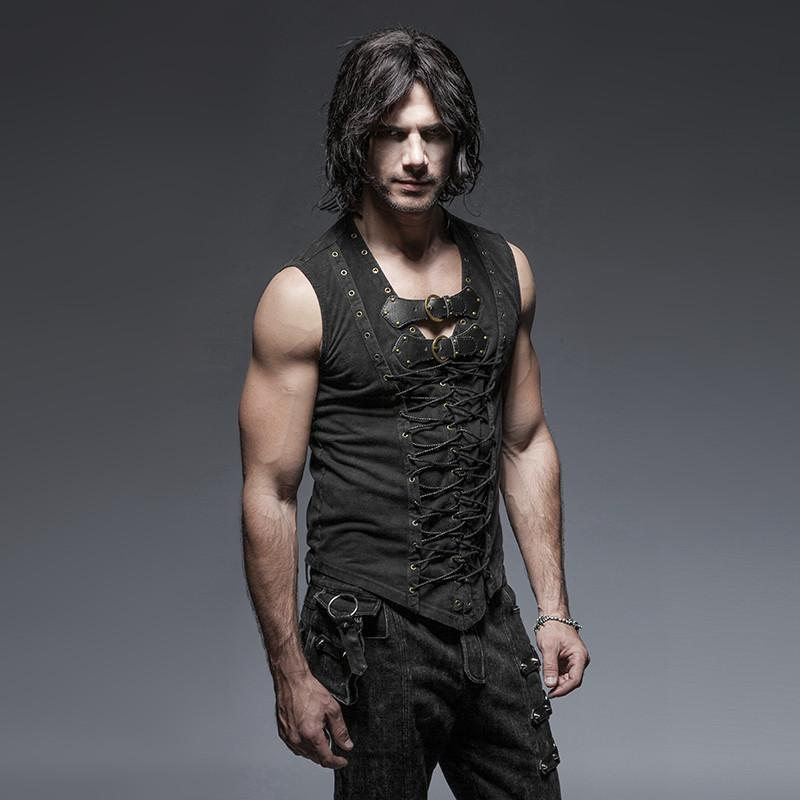 Men's Retro Lace Up Tank Top With Buckles Black - PunkDesign