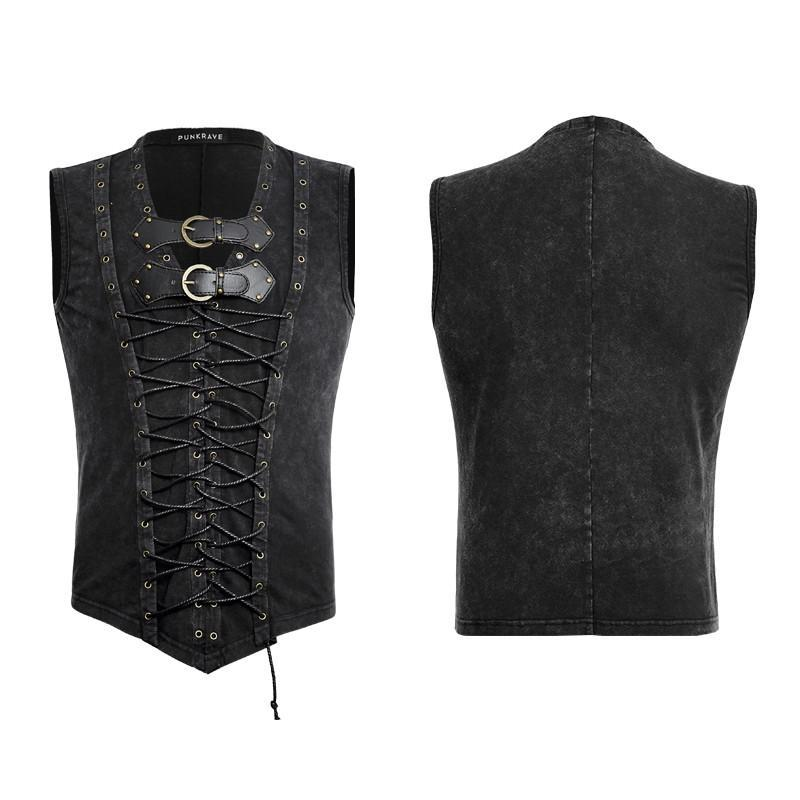 49aaa9acefff43 ... Men s Retro Lace Up Tank Top With Buckles Black - PunkDesign ...