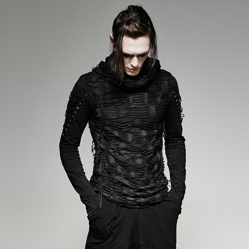 81d9479726 Men s Ripped Hole Hooded Sweater - PunkDesign. Images   1   2 ...