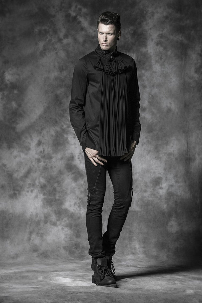 Men's Classic Gothic Fold Long Sleeve Shirts With Flower Collar - PunkDesign