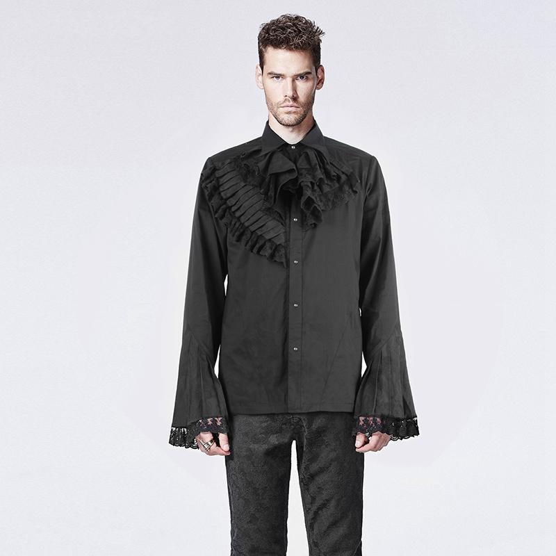 Men's Gothic Mandarin Sleeves Shirt Black - PunkDesign