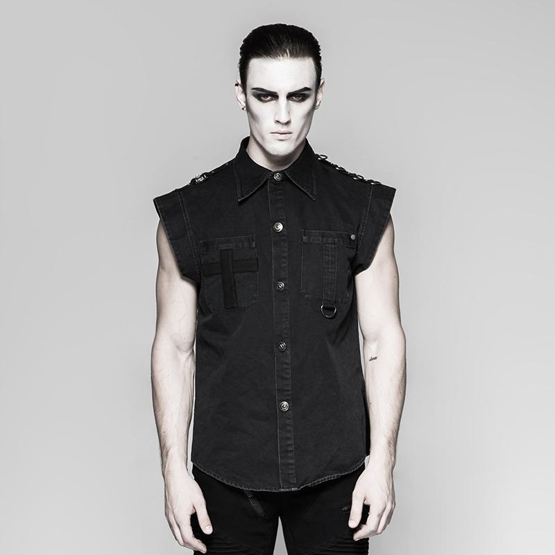 Men's punk denim shirt Black - PunkDesign