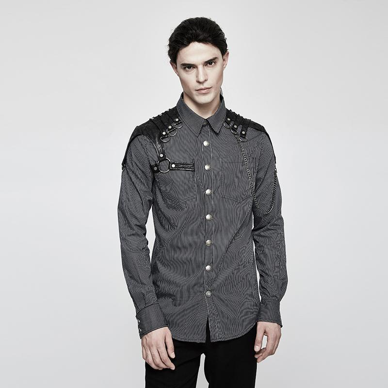 Men's Steampunk Stirped Slim Fitted Shirt With Shoulder Chain Black-Punk Design