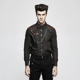 Men's Steampunk Stirped Slim Fitted Shirt With Shoulder Chain Coffee-Punk Design