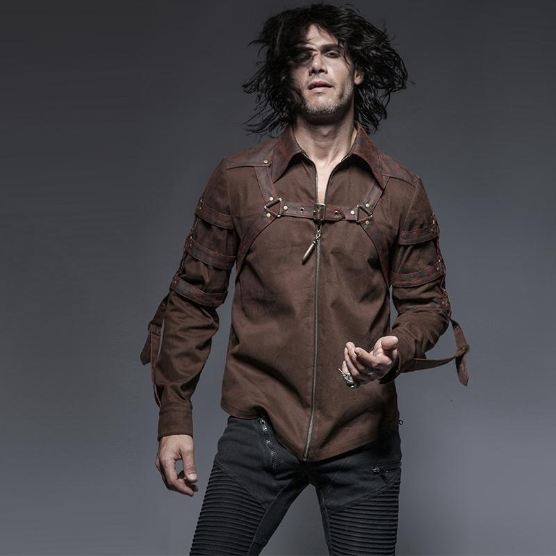 Men's Steampunk Straps Zipper Casual Shirt Coffee-Punk Design