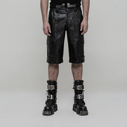 Men's Punk Multi-pockets Faux Leather Shorts - PunkDesign