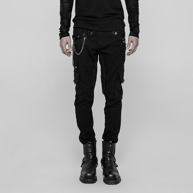 Men's Skinny Patch Pocket Punk Trousers - PunkDesign