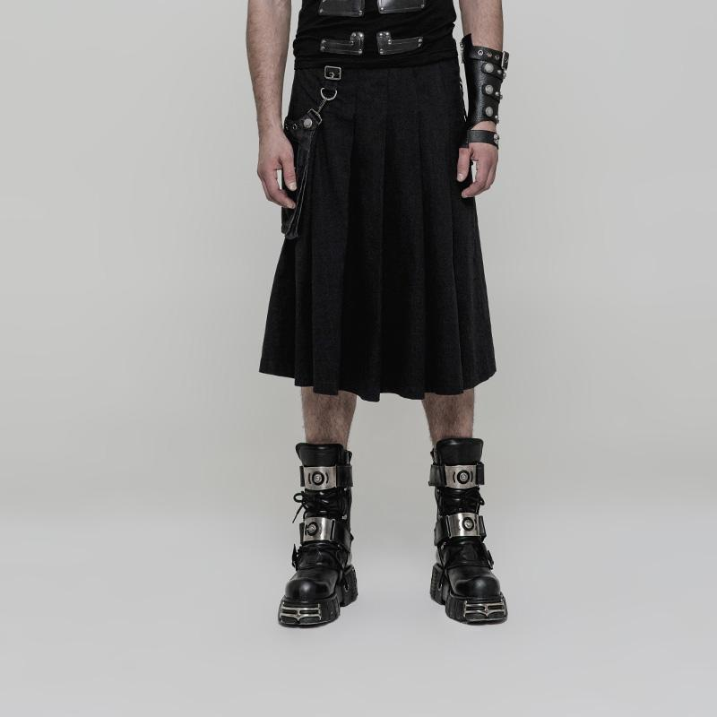 Men's Detachable Stereo Bag Pleated Skirt Black - PunkDesign