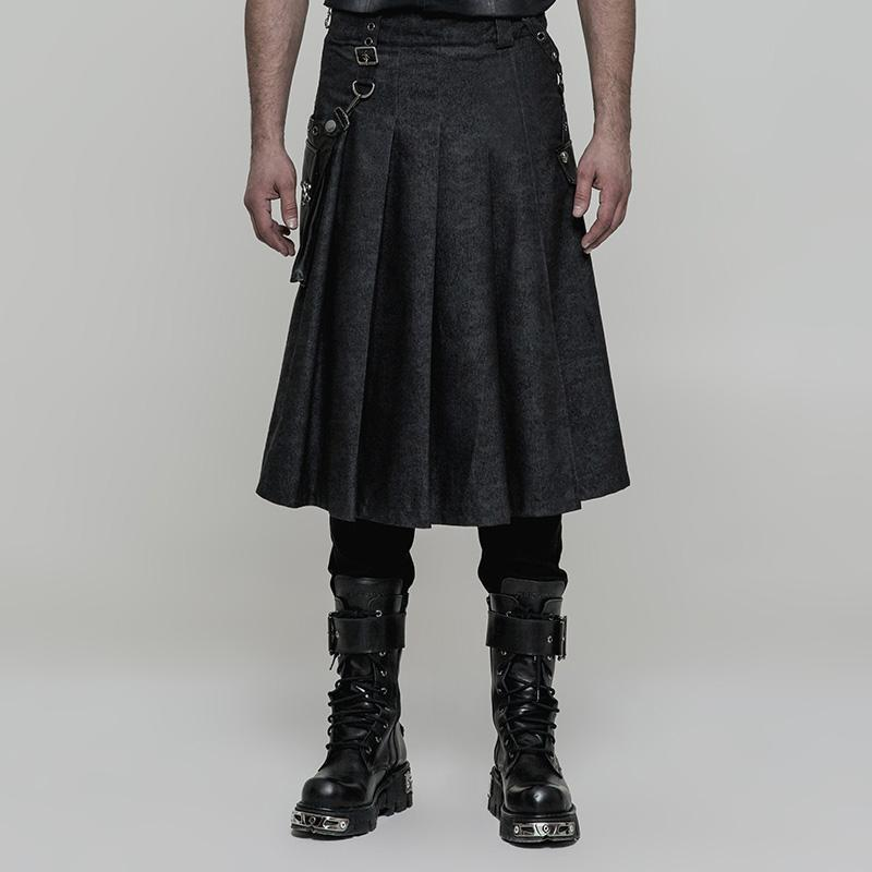 Men's Detachable Stereo Bag Pleated Skirt Printing - PunkDesign