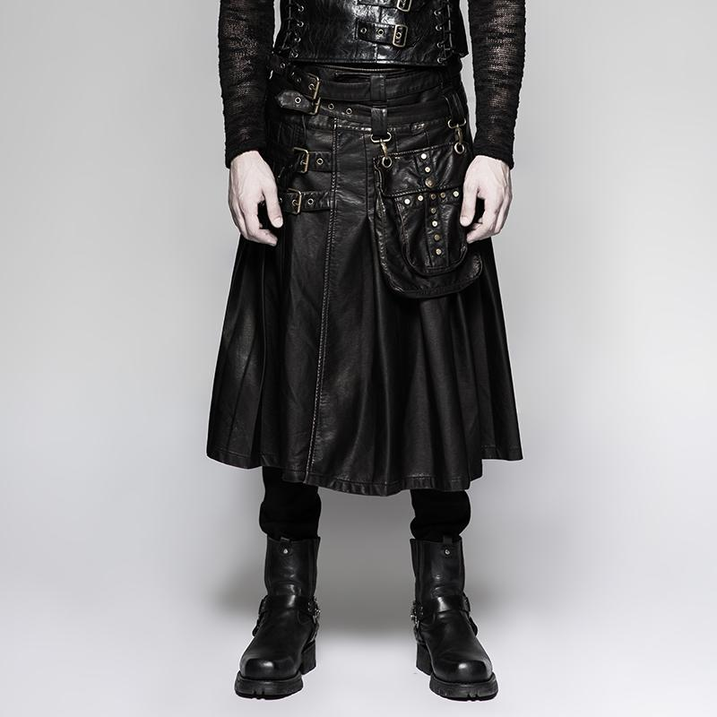 Men's Faux Leather Bucle-up Kilt With Waist Bag Black - PunkDesign