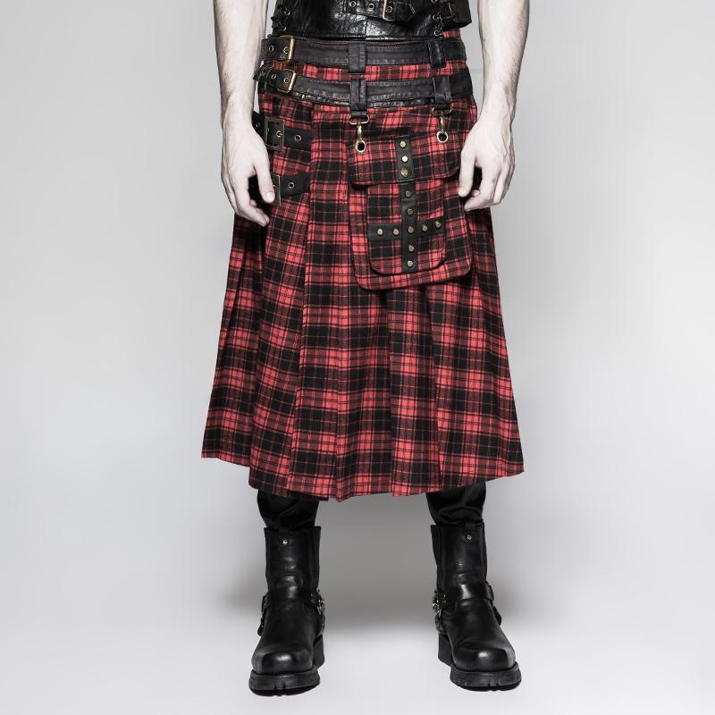 Męska, sztuczna skóra Bilt-up Kilt With Waist Bag Red - PunkDesign