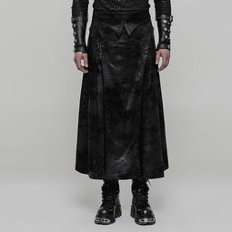 Men's Gothic Gorgeous Embroidered Faux Suede Skirt - PunkDesign