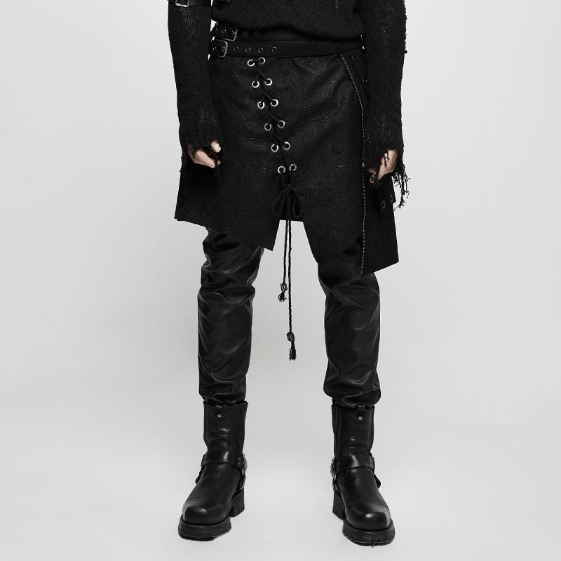 Men's Lace-up Irregular Faux Leather Kilt/Skirt - PunkDesign