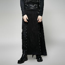 Jupe Maxi Steampunk Buckle Up Side Slit Homme - PunkDesign