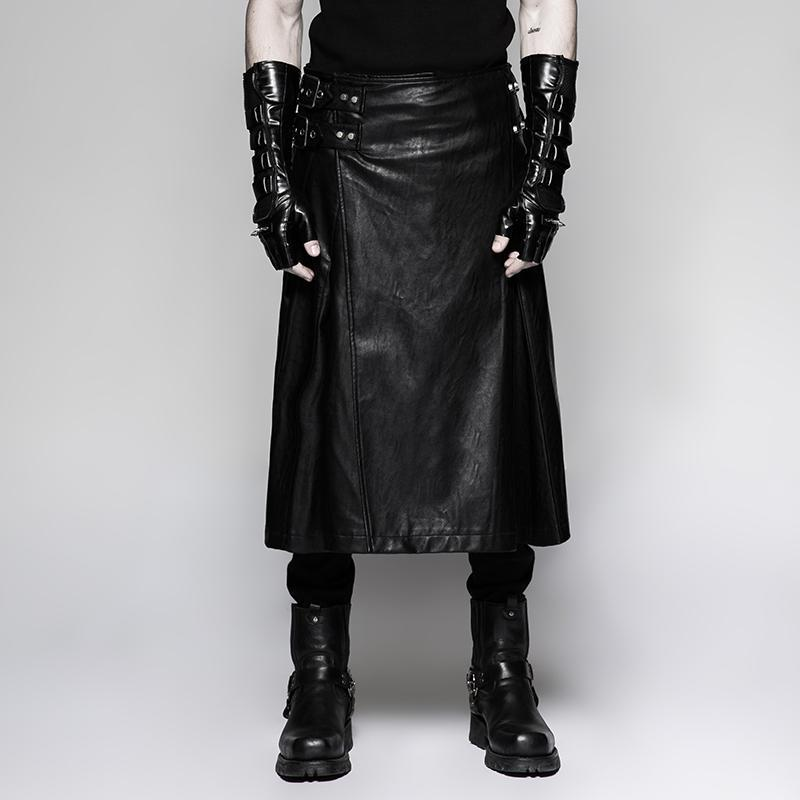 Men's steampunk faux leather skirt/kilts with waist bag-Punk Design