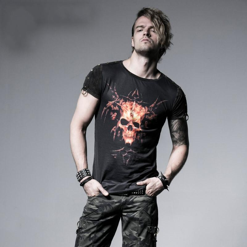 Men's Skull Printed Casual Tee - PunkDesign