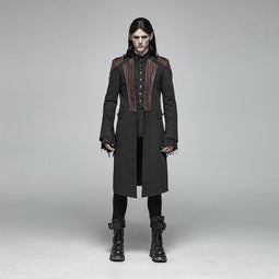Men's Steampunk Color Contrast Single-Breasted Dovetail Jacket - PunkDesign