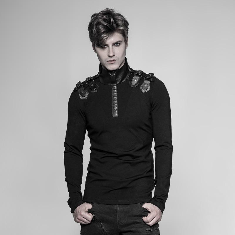 Men's Steampunk Faux Leather Trimmed T-Shirt-Punk Design