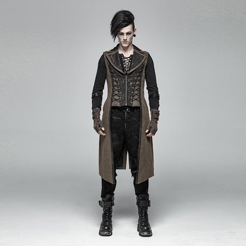 Herren Steampunk Long Vest Coffee-Punk Design