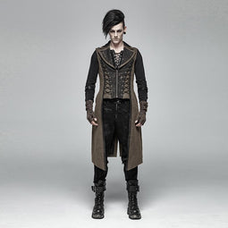 Punk Rave Men's Steampunk Long Vest Coffee