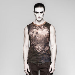 Herren Steampunk Mechanical Gear gedruckt Tank Tops-Punk-Design