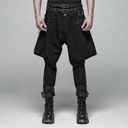 Men's Steampunk Riding Breeches With Faux Leather Belt-Punk Design