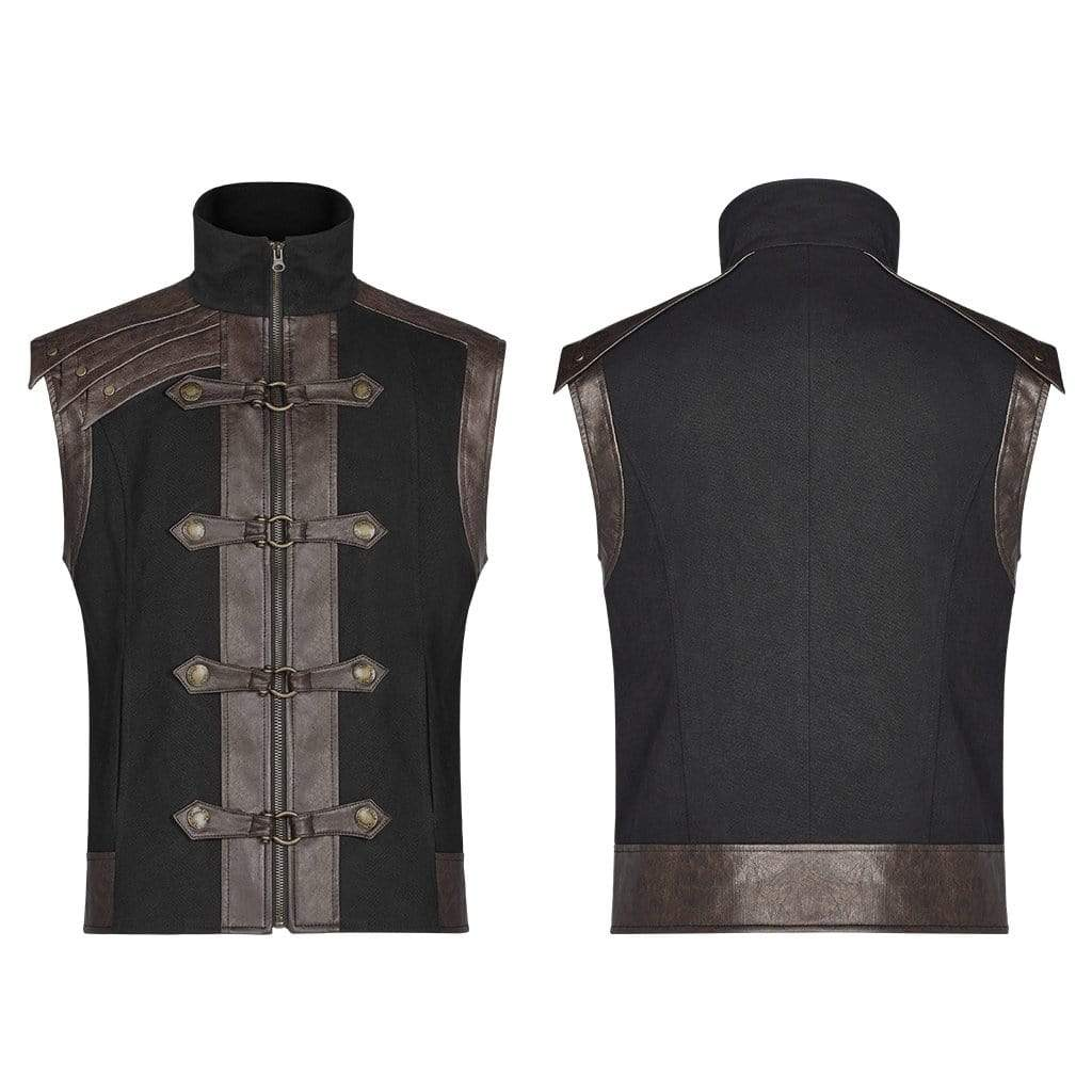 steel master Gothic Steampunk Mens Black PU Leather Stand Collar Zipper Vest Tops Motorcycle Waistcoat