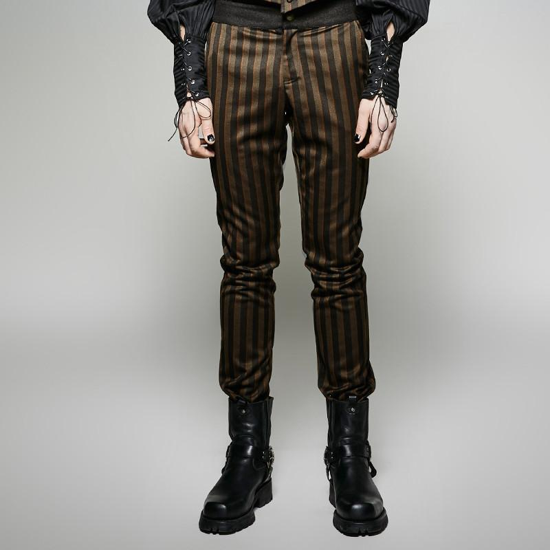 Men's Steampunk Striped Casual Pants-Punk Design