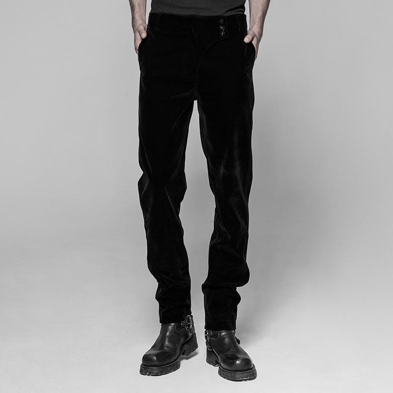 Men's Stylish Velour Three Button Gothic Trousers-Punk Design