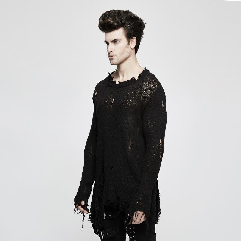 Men's Distressed Loose Frayed Pullover Sweater - PunkDesign