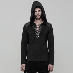 Men's Lace-up Faux Leather Colorblock Slim Fitted Hoodies - PunkDesign