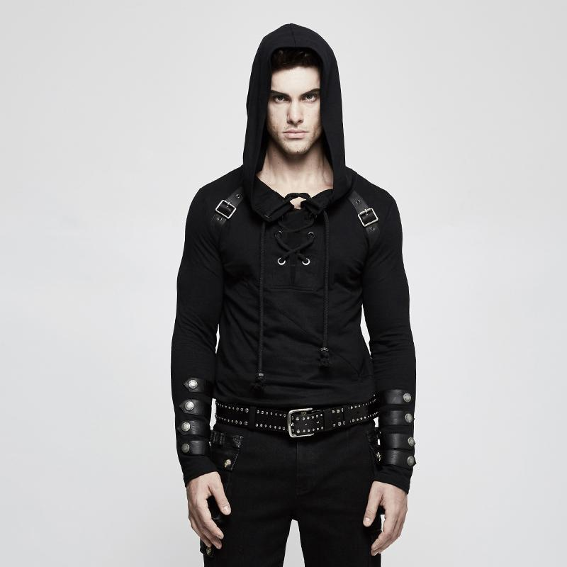 Men's Lace-up Slim Fitted Hoodies - PunkDesign