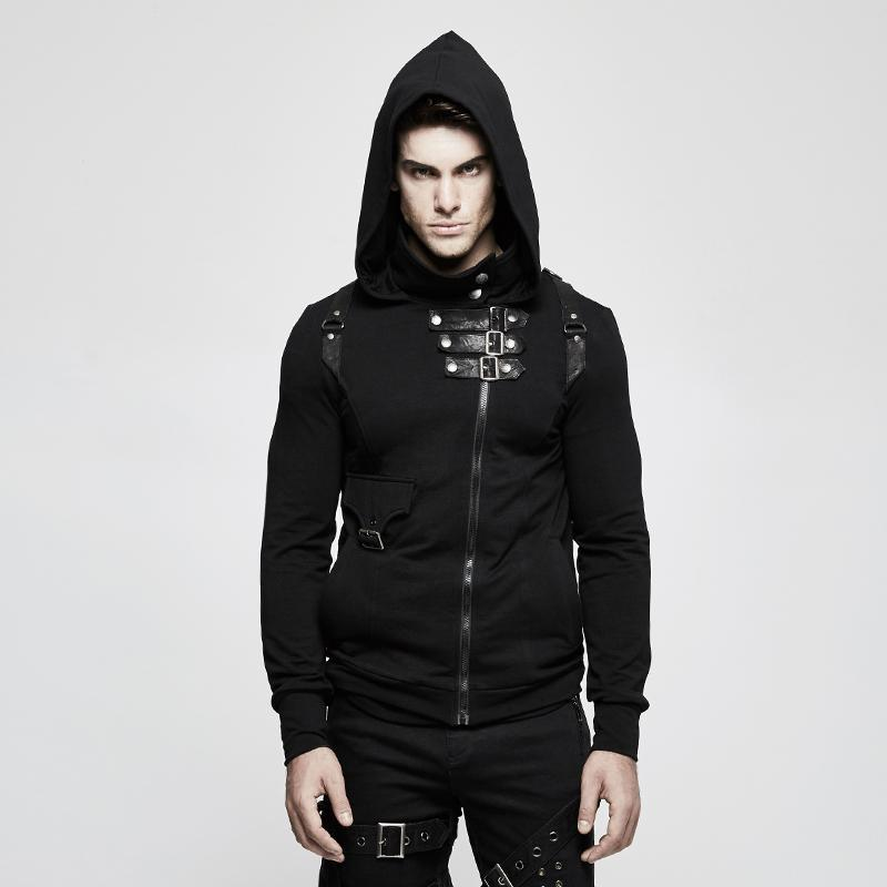 Men's Punk High Collar Front Zipper Slim-fitted Hoodies - PunkDesign