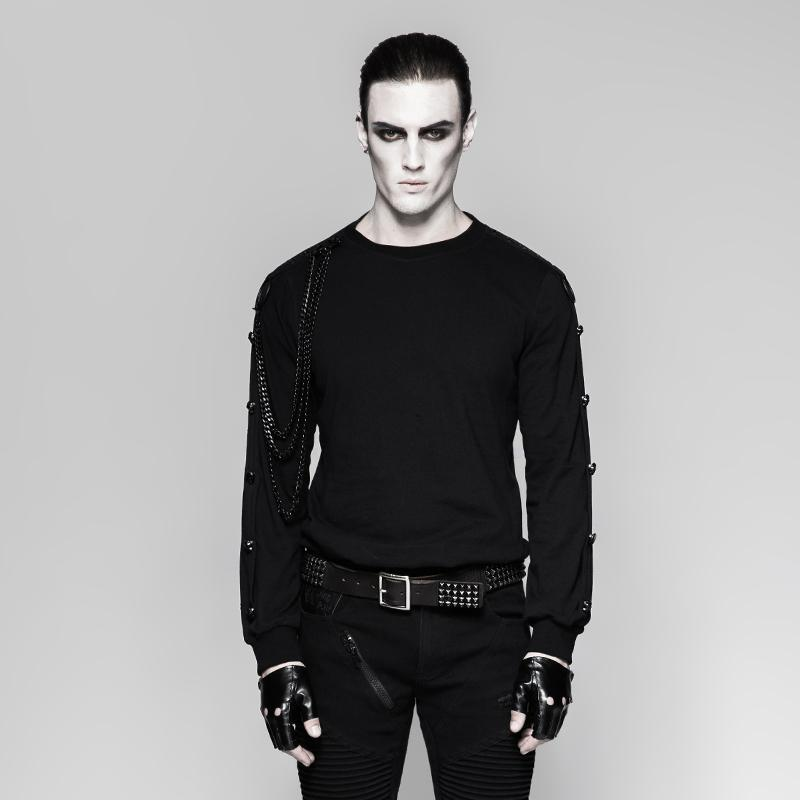 Men's Punk Rock Multilayer Metal Chain Sweaters - PunkDesign